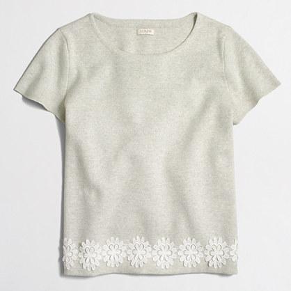 Lace-hem short-sleeve sweater
