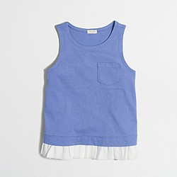 Factory girls' ruffle-hem tank top