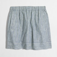 Striped cotton-linen skirt