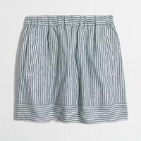 Striped cotton-linen skirt