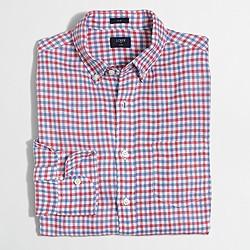 Factory slim linen shirt in multicolor gingham