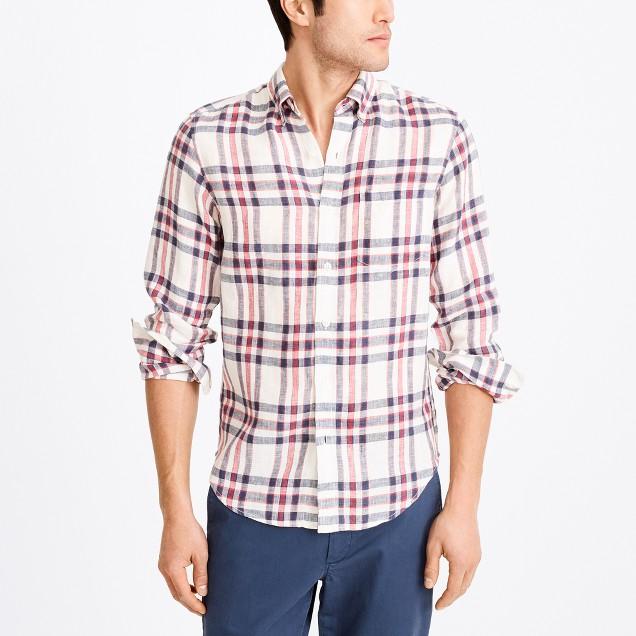 Slim linen shirt in plaid