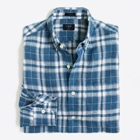 Slim linen shirt in plaid