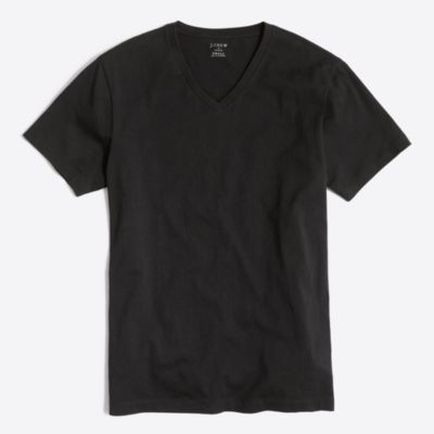Slim washed V-neck T-shirt factorymen slim c
