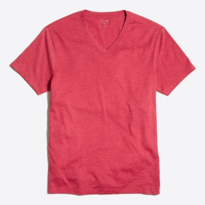Slim heathered washed V-neck T-shirt factorymen new arrivals c