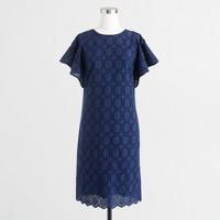 Flutter-sleeve scalloped eyelet dress
