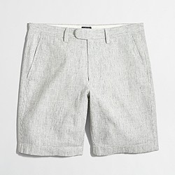 "Factory 9"" linen-cotton Gramercy short with extended tab"
