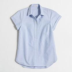 Factory short-sleeve oxford popover shirt