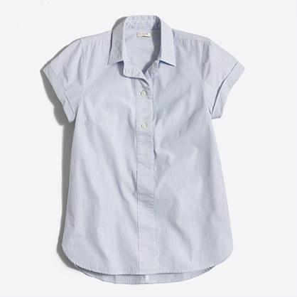 Striped short-sleeve popover shirt