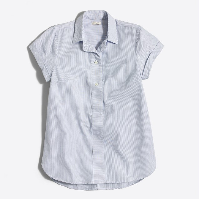 Striped short-sleeve popover shirt