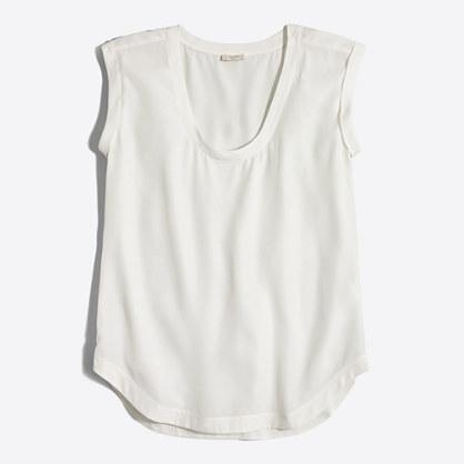 Petite drapey scoopneck top