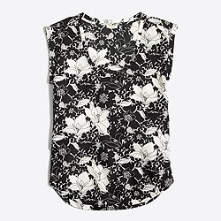 Factory printed drapey scoopneck top