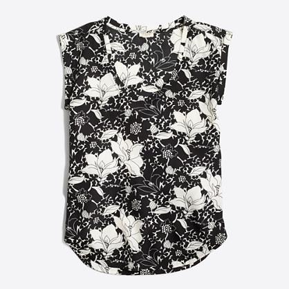 Printed drapey scoopneck top