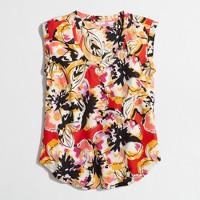 Petite printed drapey scoopneck top