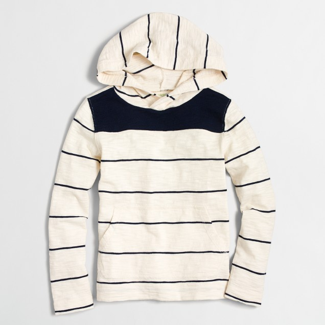 Boys' lightweight striped pullover hoodie