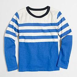 Boys' long-sleeve placed-stripe T-shirt