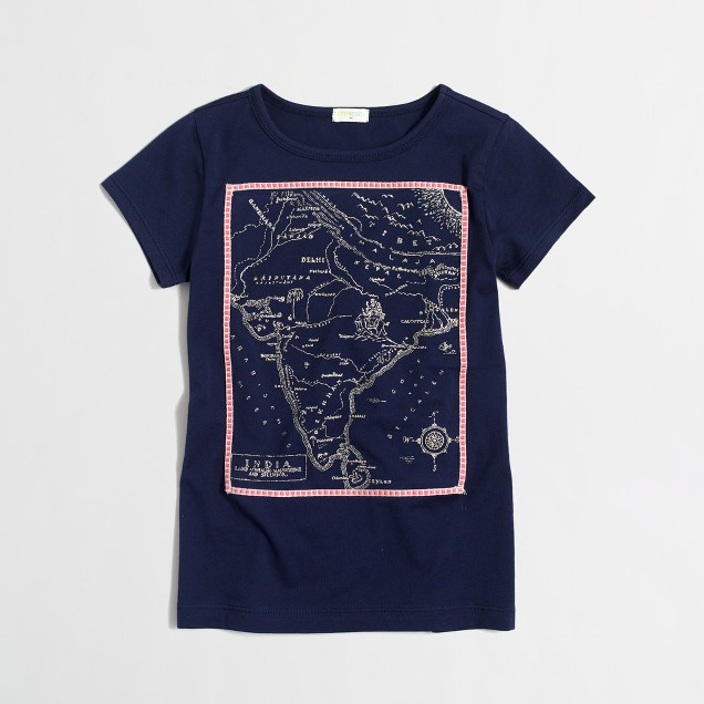 Girls' map of India keepsake T-shirt