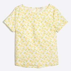 Printed linen-cotton T-shirt