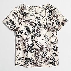 Factory printed linen-cotton T-shirt