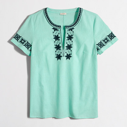embroidered short-sleeve peasant top