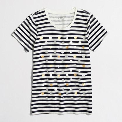 Heart dot striped collector T-shirt