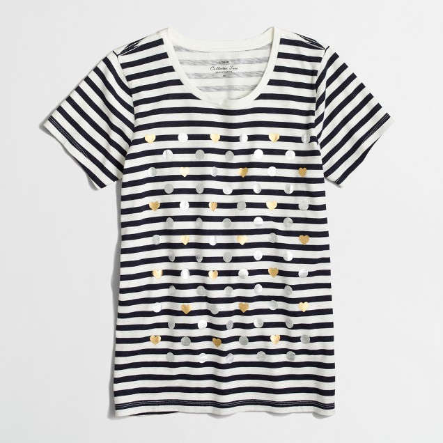 Heart dot striped collector T-shirt
