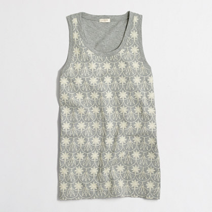 Floral crochet-front tank top