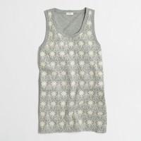 Floral crochet-front tank top
