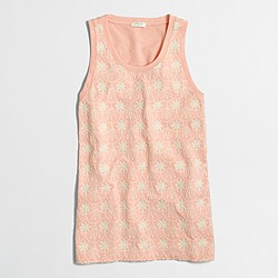 Factory floral crochet-front tank top