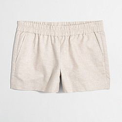 "Factory 3"" metallic cotton-linen boardwalk pull-on short"