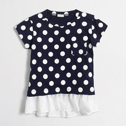 Girls' polka-dot ruffle-hem T-shirt