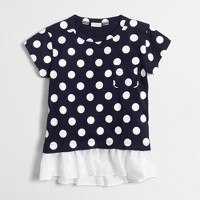 Girls' polka-dot ruffle-hem T-shirt