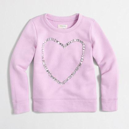 Girls' jeweled heart sweatshirt