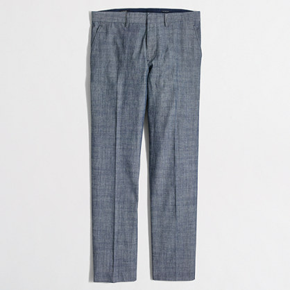 Slim Bedford chambray dress pant