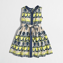 Factory girls' printed center-seam dress
