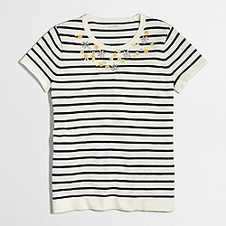 Factory embellished short-sleeve striped sweater