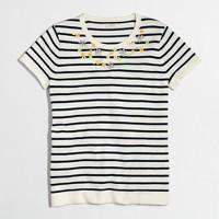 Embellished short-sleeve striped sweater