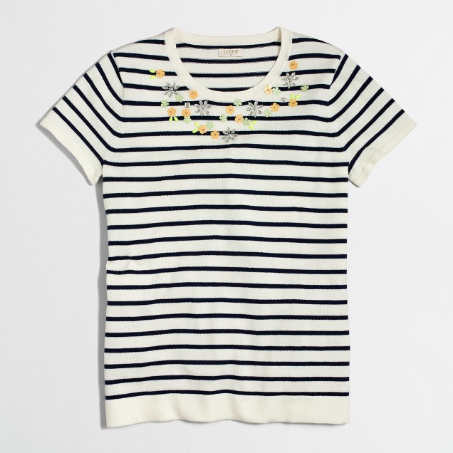 Embellished short-sleeve striped sweater