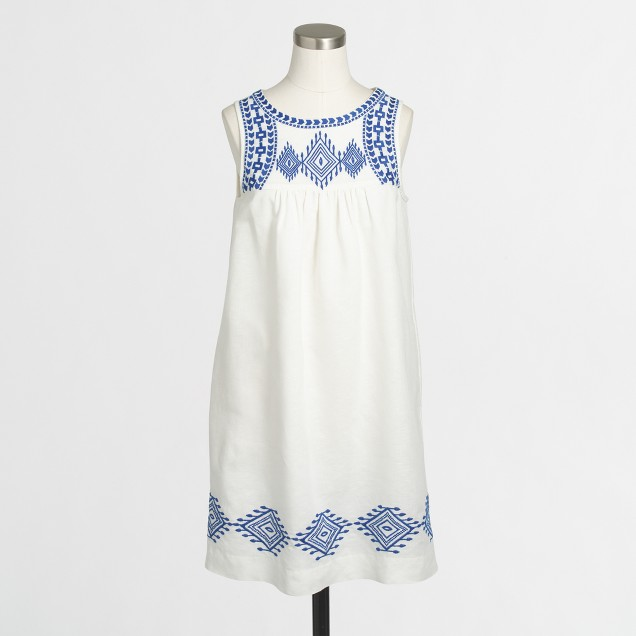 Linen-cotton embroidered dress
