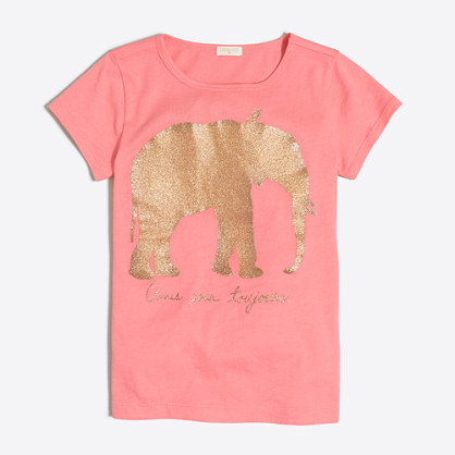 Girls' glitter elephant keepsake T-shirt