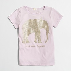Factory girls' glitter elephant keepsake T-shirt