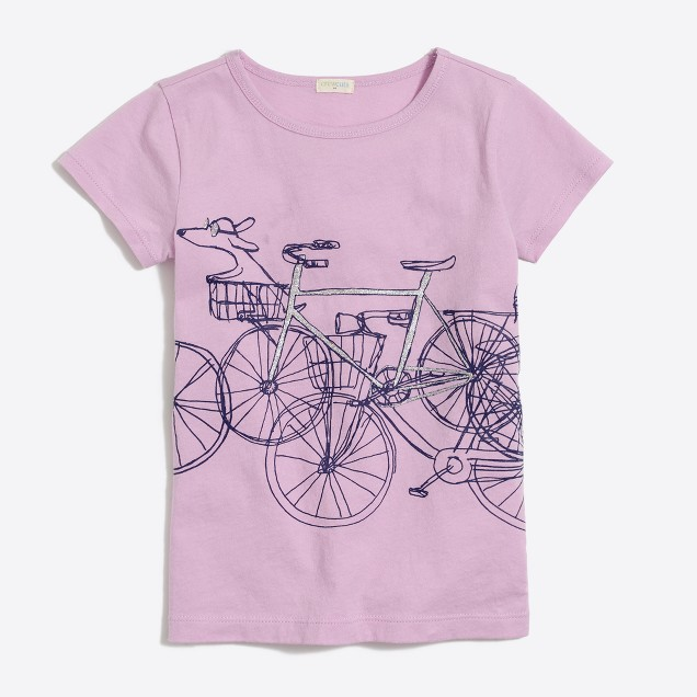 Girls' girl & dog bike keepsake T-shirt