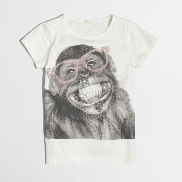Girls' monkey keepsake T-shirt