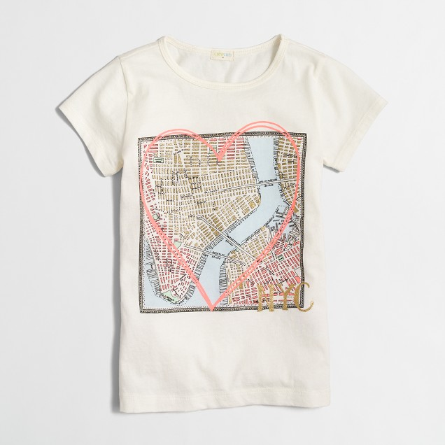 Girls' NYC map keepsake T-shirt