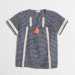 Girls' striped tassel top