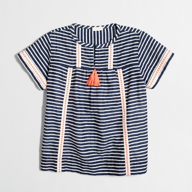 Girls' striped tassel top