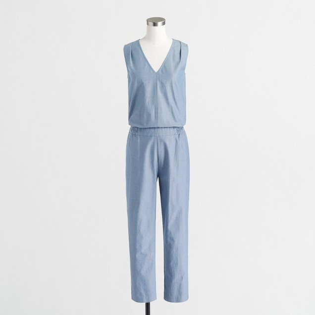 Petite drapey V-neck jumpsuit