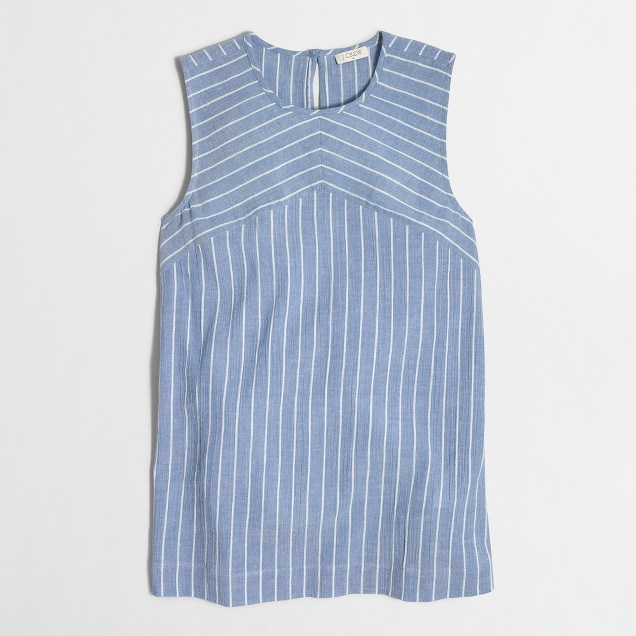 Striped keyhole tank top