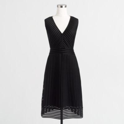 Petite striped eyelet dress