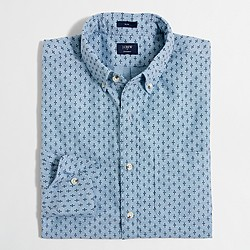 Factory slim printed chambray shirt